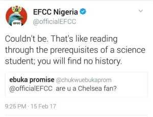 EFCC Nigeria Shades Chelsea FC On Twitter